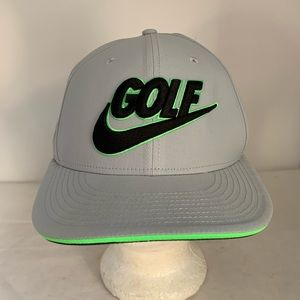 Gray Nike Golf Mens Hat Snapback Cap Neon Green